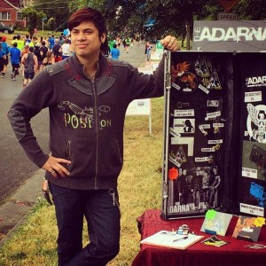 007 - William working the merch booth for the Rock n Roll Marathon in Seattle WA