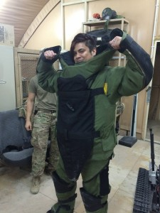 144 - William in an EOD bomb suit in `Araifjan, Al Aḩmadī, Kuwait.