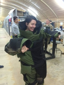 145 - Andreka trying on the EOD Bomb Suit in `Araifjan, Al Aḩmadī, Kuwait.