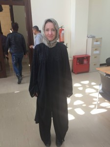334 - Andreka wearing an abaya to enter the Grand Mosque in Bahrain — at Grand Mosque, Juffair.
