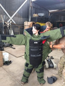 050 - Andreka trying on the bomb disposal suit — in Djibouti, Djibouti.