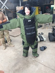 051 - Andreka trying on the bomb disposal suit — in Djibouti, Djibouti.