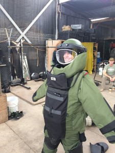053 - Andreka trying on the bomb disposal suit — in Djibouti, Djibouti.