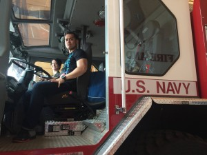 061 - Josh behind the wheel of a Navy Firetruck. Nice! — Djibouti