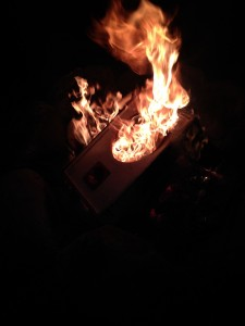 Burning Murdock's first speaker he ever made.  Daggum pyros