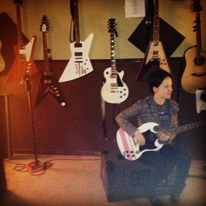 Andreka workin out the solos in the studio